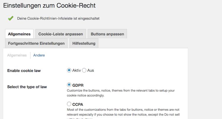 WordPress Ratgeber EU DSGVO Cookie Hinweis richtig einbauen