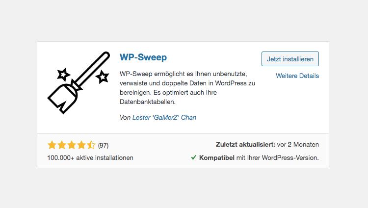 WordPress WP-Sweep Plugin